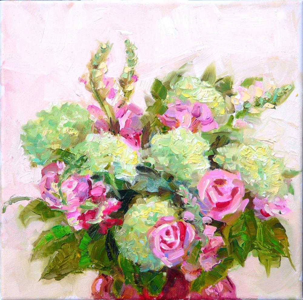 """Valentine Bouquet,still life,oil on canvas,12x12,price$300"" original fine art by Joy Olney"