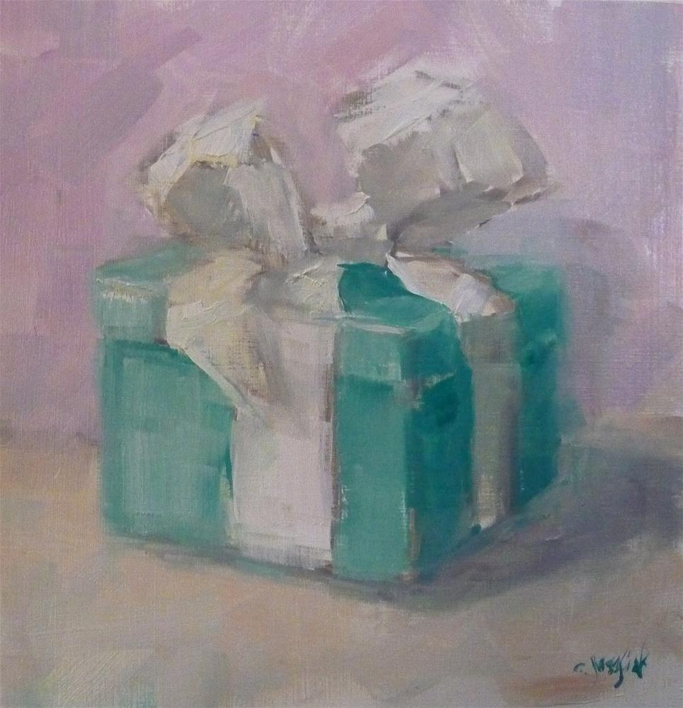 """Who doesn't like a blue box?"" original fine art by Carol Josefiak"