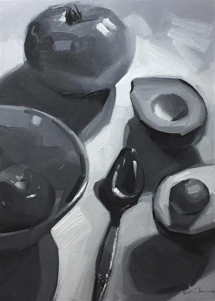 """""""Avocado and Tomatoes in Black and White - and More about Notan"""" original fine art by Sarah Sedwick"""