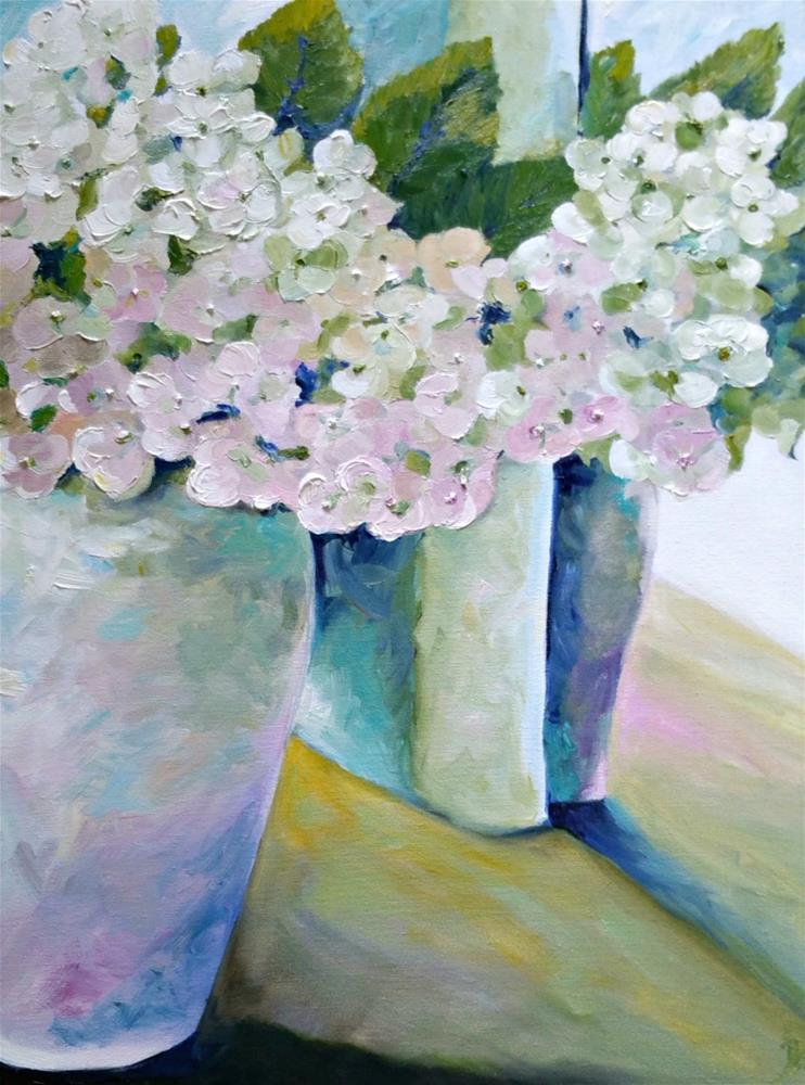 """Quite Serene Hydrangeas"" original fine art by Dana C"