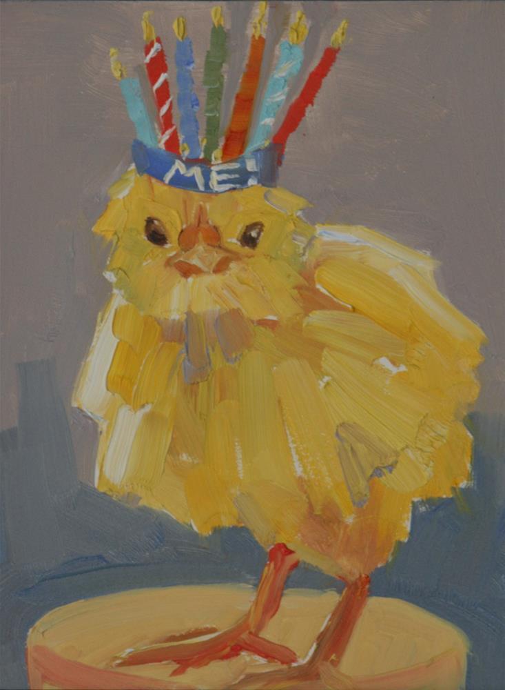 """birthday chick"" original fine art by Carol Carmichael"