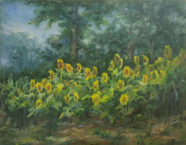 """Rainy Day  Sunflower Field"" original fine art by Tammie Dickerson"