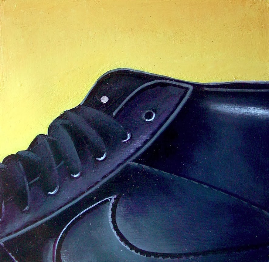 """Nike 2- Still Life Painting Of Black Basketball Sneaker"" original fine art by Gerard Boersma"