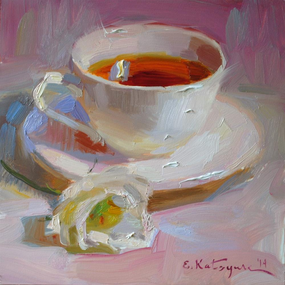 """Tea on Pink"" original fine art by Elena Katsyura"