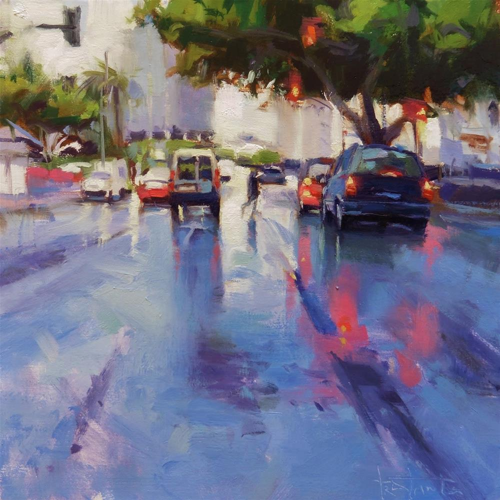 """Lights of a rainy day"" original fine art by Víctor Tristante"