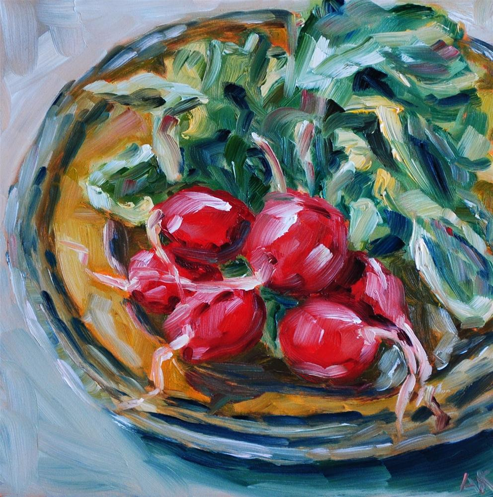 """Radishes on Plate"" original fine art by Alison Kolkebeck"