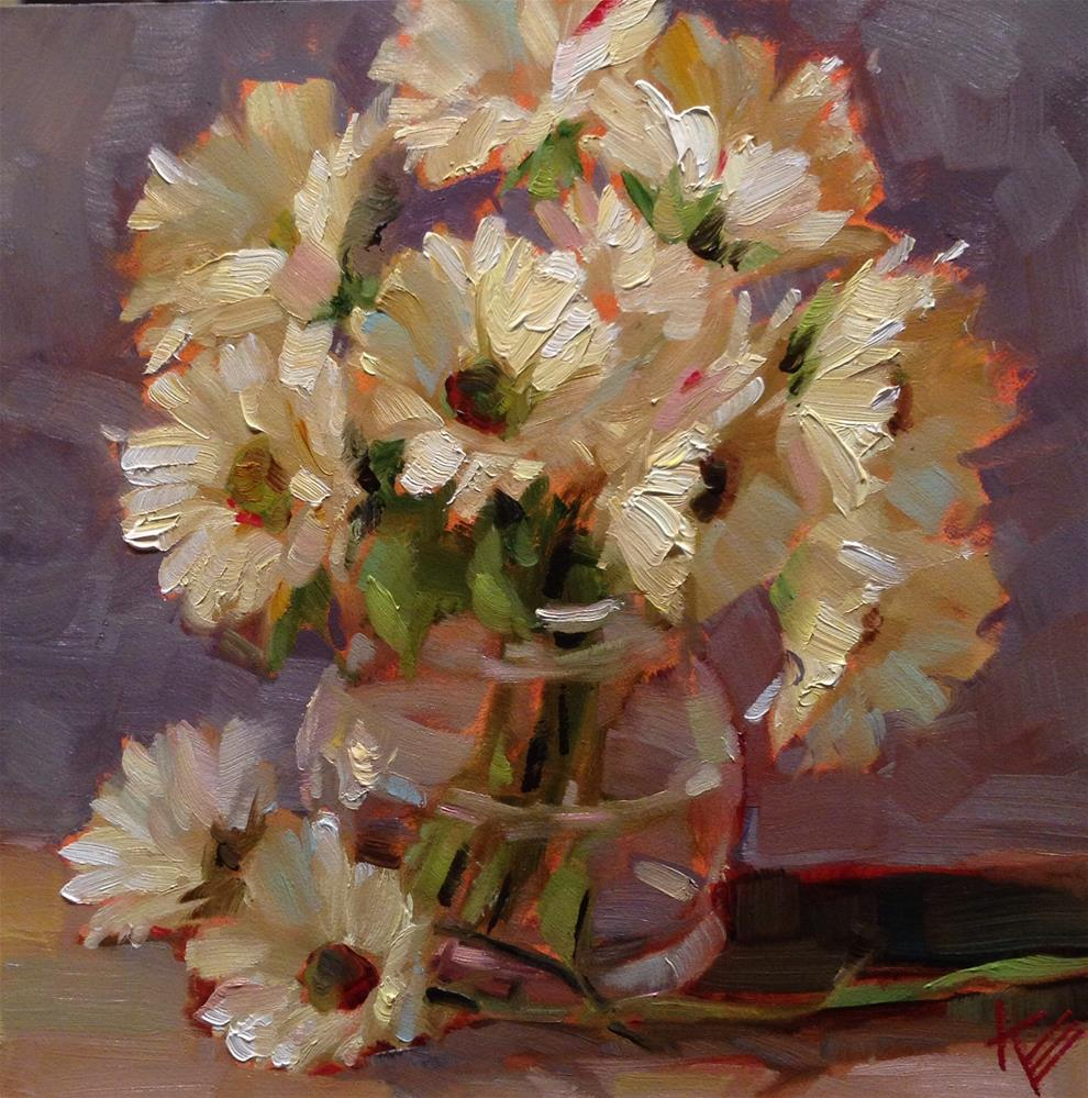 """Daisies in glass jar"" original fine art by Krista Eaton"