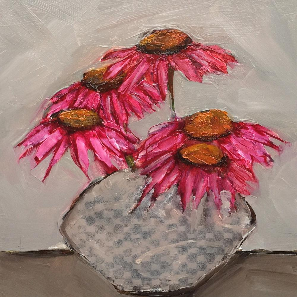 """ABSTRACT STILL LIFE Floral Coneflower Echinacea Original Art 6x6 Painting OIL"" original fine art by Colette Davis"