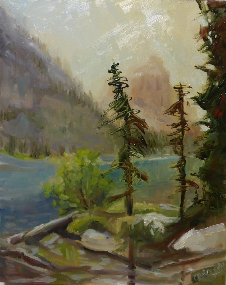 """Hiking Moraine Lake"" original fine art by Carolynn Doan"