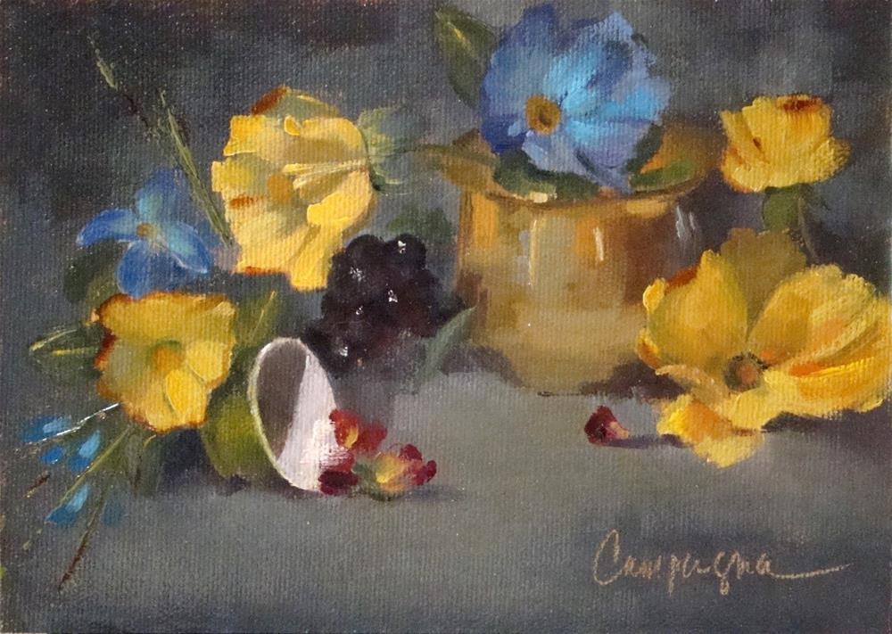 """""""Brassy Poppies - Oil Painting"""" original fine art by Roseanne Campagna"""