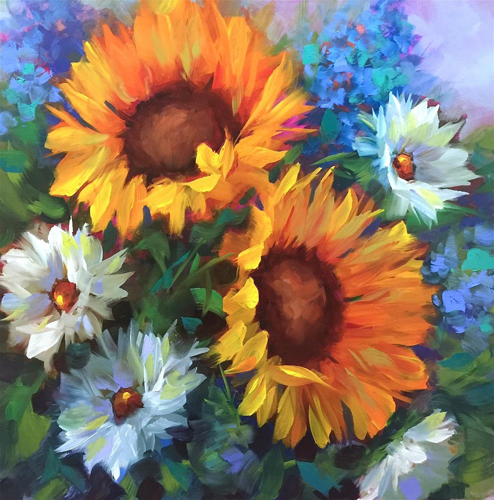 """Bright Side Sunflowers"" original fine art by Nancy Medina"
