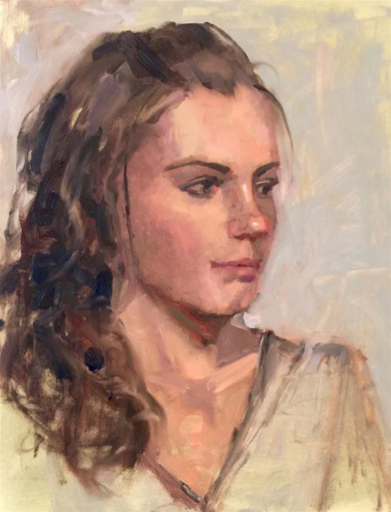 """Michelle,  11x14  oil on gesso board"" original fine art by Ann Feldman"