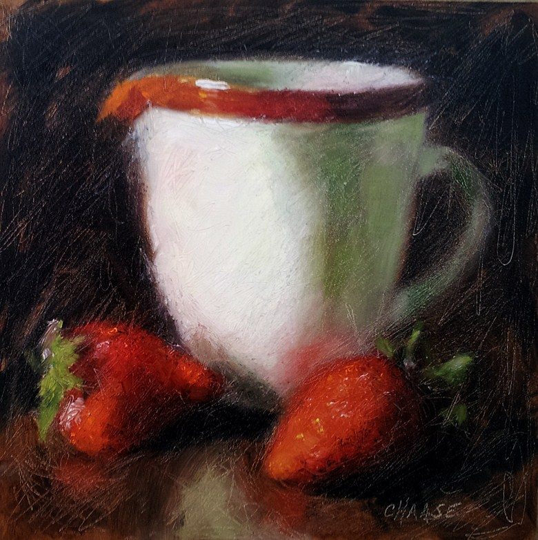 """Strawberries and Cream"" original fine art by Cindy Haase"
