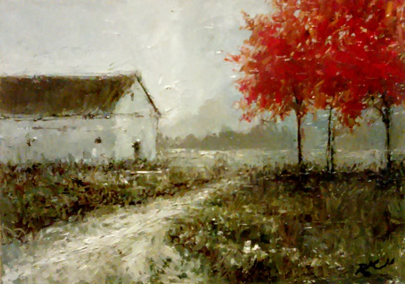 """Red Trees and a Barn"" original fine art by Bob Kimball"
