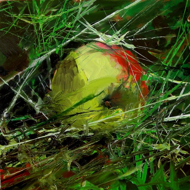 """Fallen apple   oil sketch"" original fine art by Robin Weiss"
