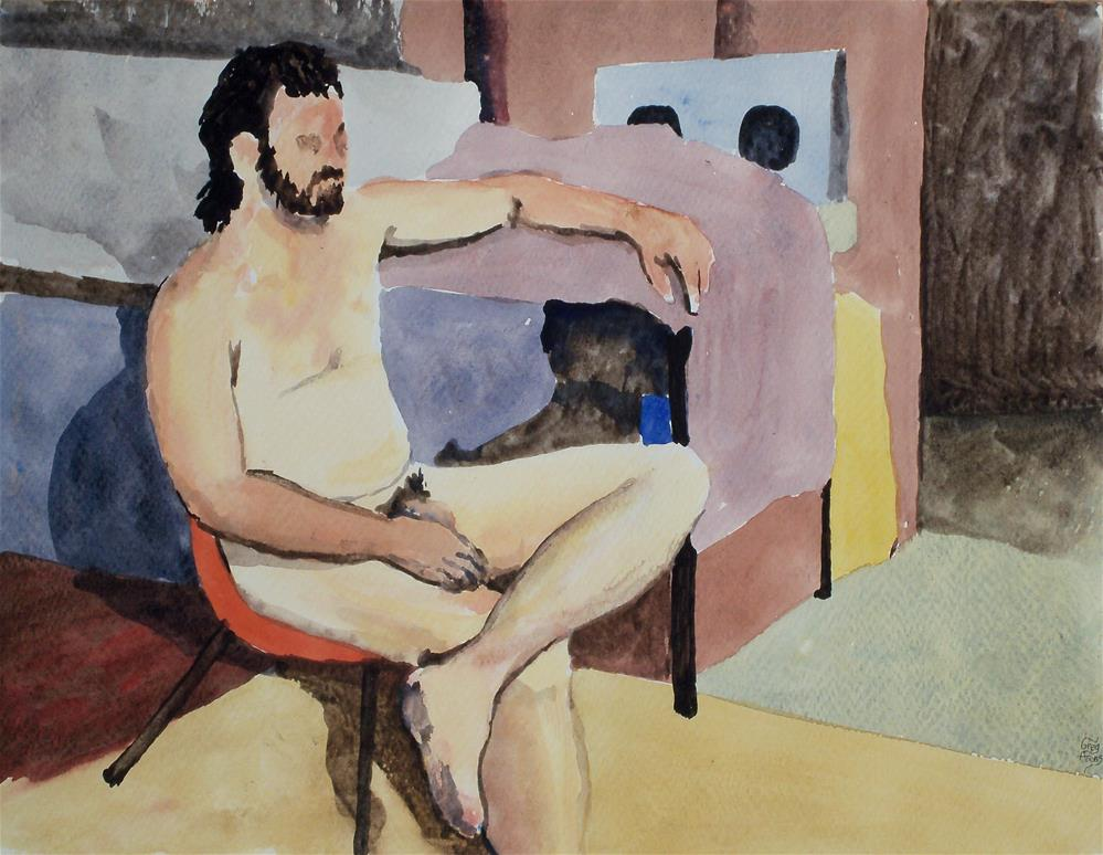 """Bill Sitting Naked"" original fine art by Greg Arens"