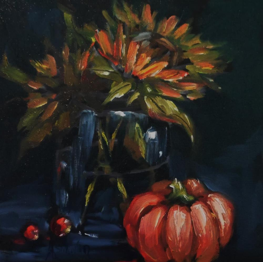 """Beauty In The Darkness floral painting by Alabama Artist Angela Sullivan"" original fine art by Angela Sullivan"