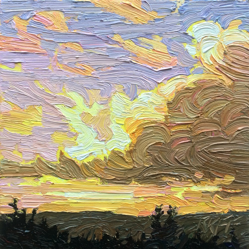 """Evening Colours: 6x6 oil on panel"" original fine art by Ken Faulks"