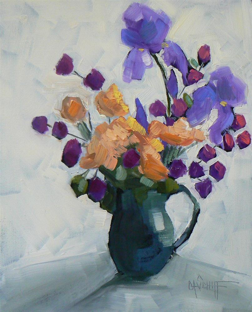 """Small Floral Still Life, Spring Flowers, 8x10 Oil"" original fine art by Carol Schiff"