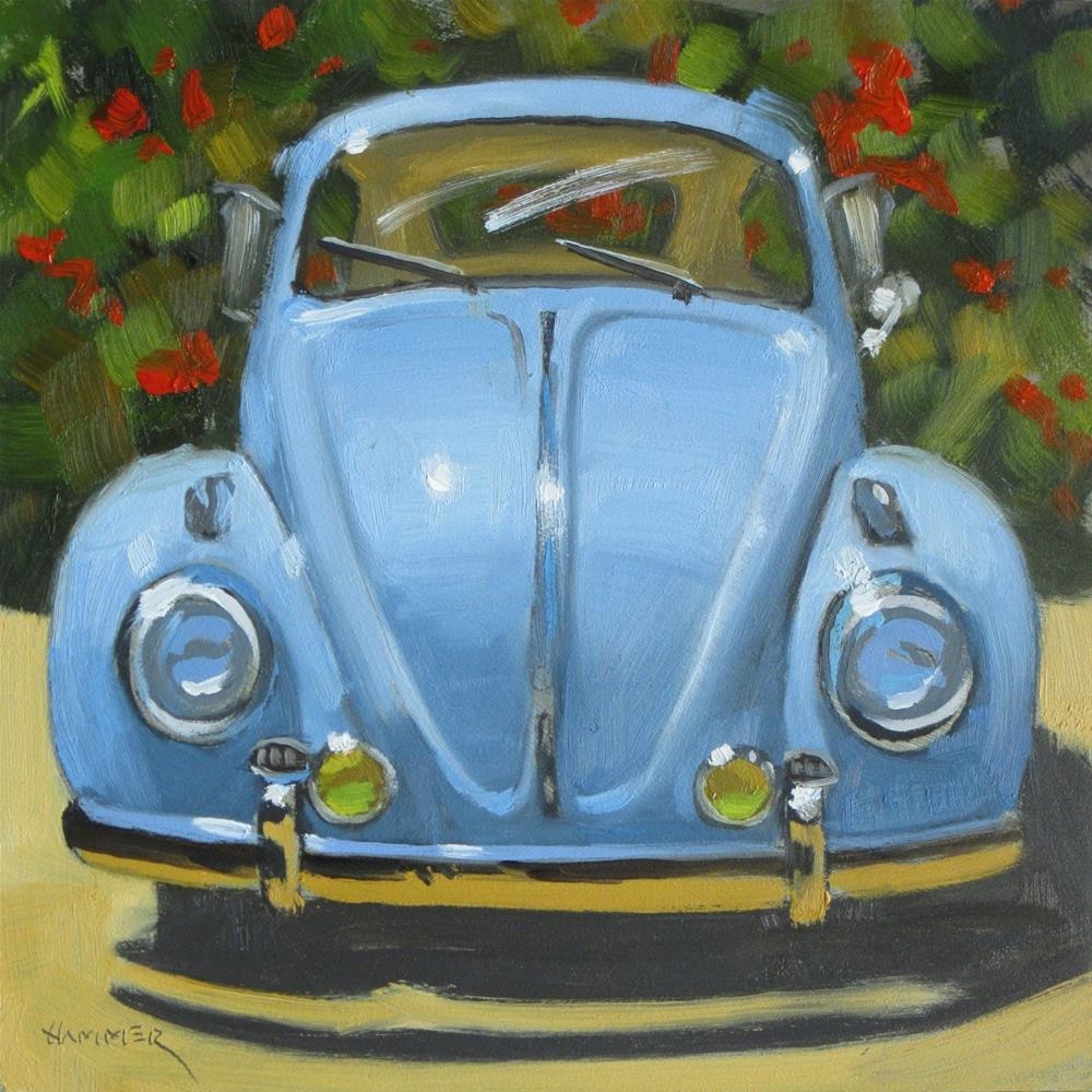 """1959 Volkswagon Bug  6 x 6  oil"" original fine art by Claudia Hammer"