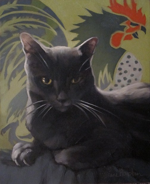 """Coco Suave painting of gray cat w rooster"" original fine art by Diane Hoeptner"