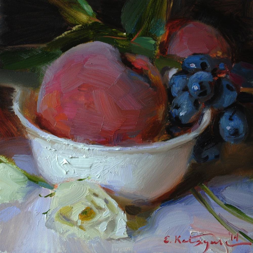 """Fruit in White Bowl"" original fine art by Elena Katsyura"