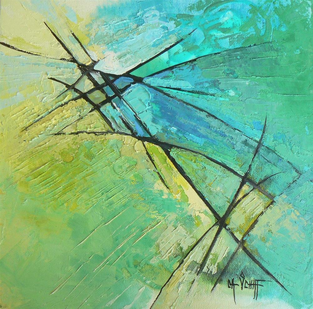 """""""Abstract Mixed Media, 10x10 Original, Acid Green and Aqua"""" original fine art by Carol Schiff"""