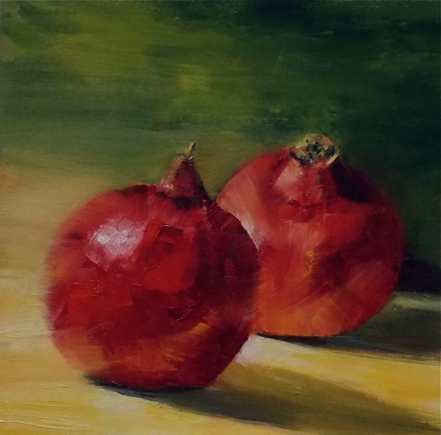 """Pomegranates"" original fine art by Ruth-Ann Carlock"