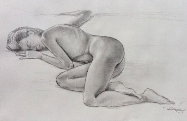 """Study of young female nude"" original fine art by Hilary J. England"