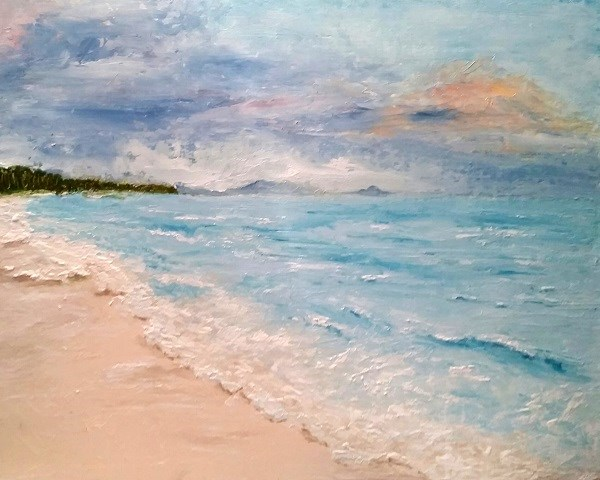 """Beach Sunrise"" original fine art by Barbara Janecka"
