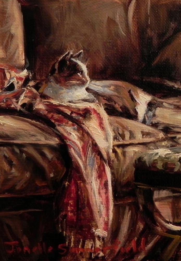 """Cat on a Throw"" original fine art by Jonelle Summerfield"
