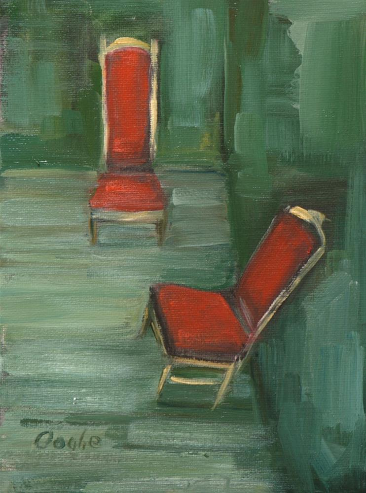 """Red Velvet Chairs"" original fine art by Angela Ooghe"