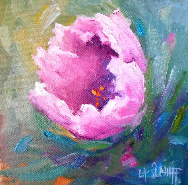 """Tulip Painting, Floral Painting, Daily Painting, Small Oil Painting, 6x6  Oil on Canvas Panel"" original fine art by Carol Schiff"