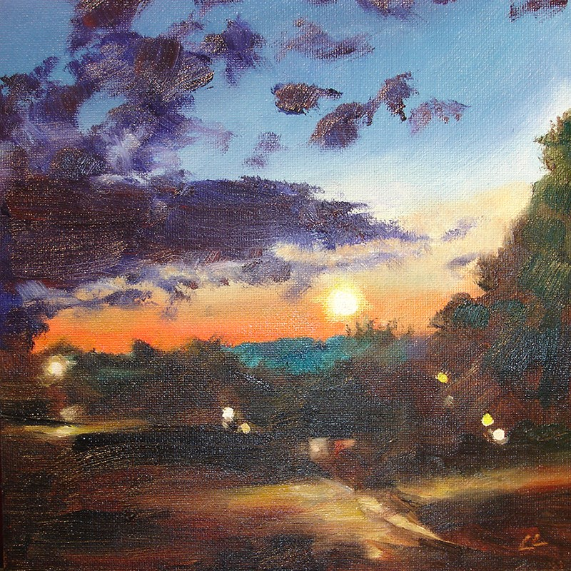 """Night Scene"" original fine art by Linda Lowery"