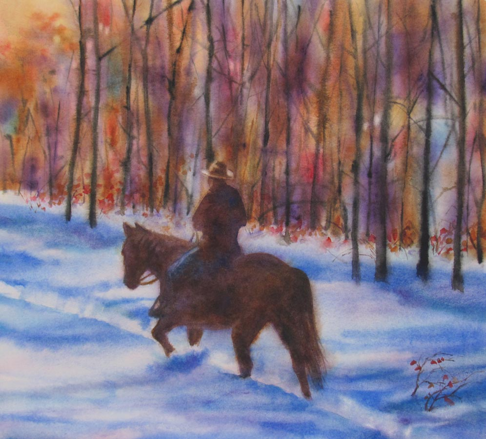 """AUTUMN RIDE watercolor landscape painting"" original fine art by Barbara Fox"