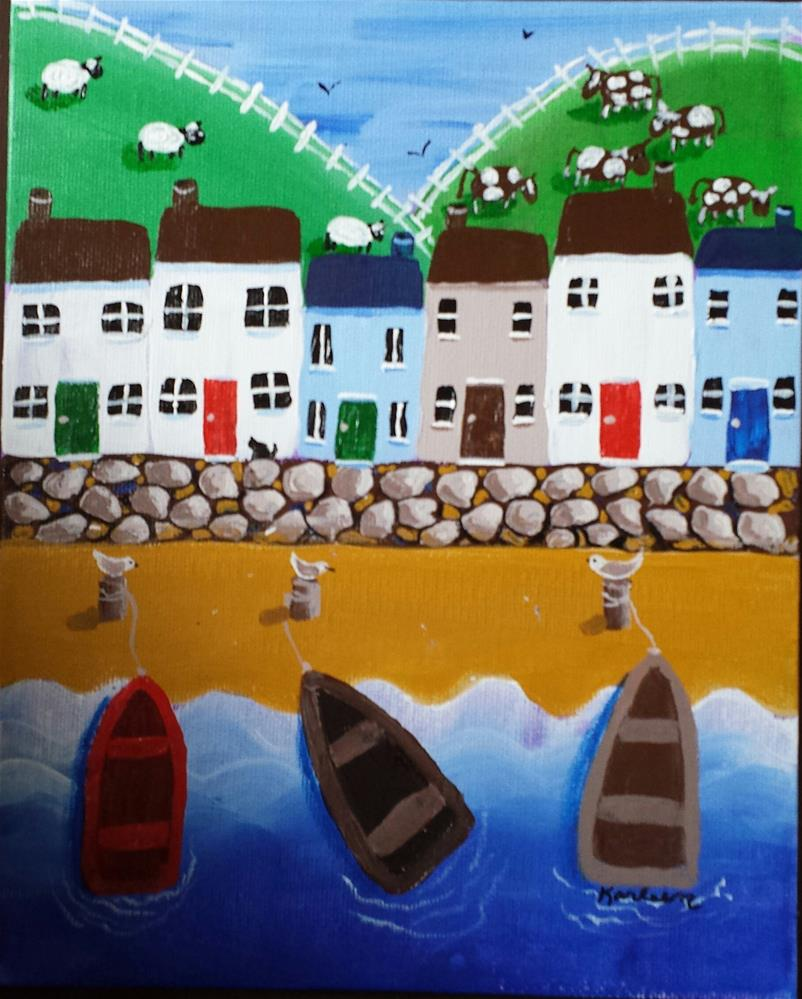 """Three Row Boats"" original fine art by Karleen Kareem"