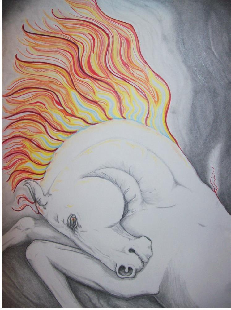 """White horse #3"" original fine art by Lanette Hastings"