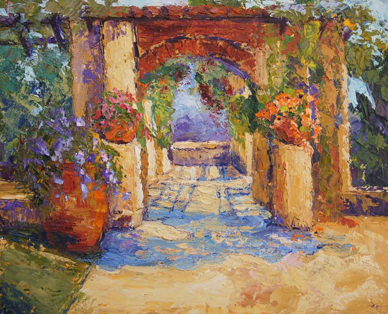 """Monastery Gardens at Cimiez Palette knife painting Oil on canvas board"" original fine art by Marion Hedger"