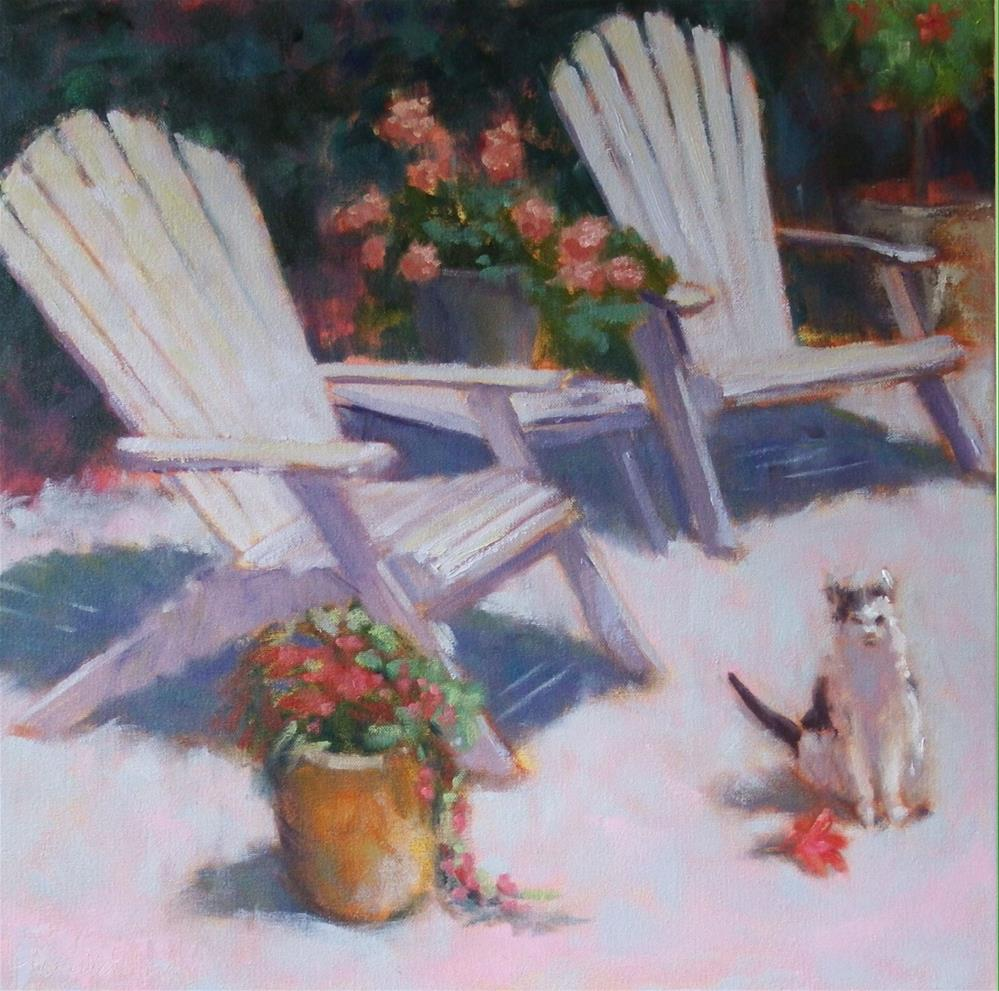 """Chairs and Cat"" original fine art by Katharine March"
