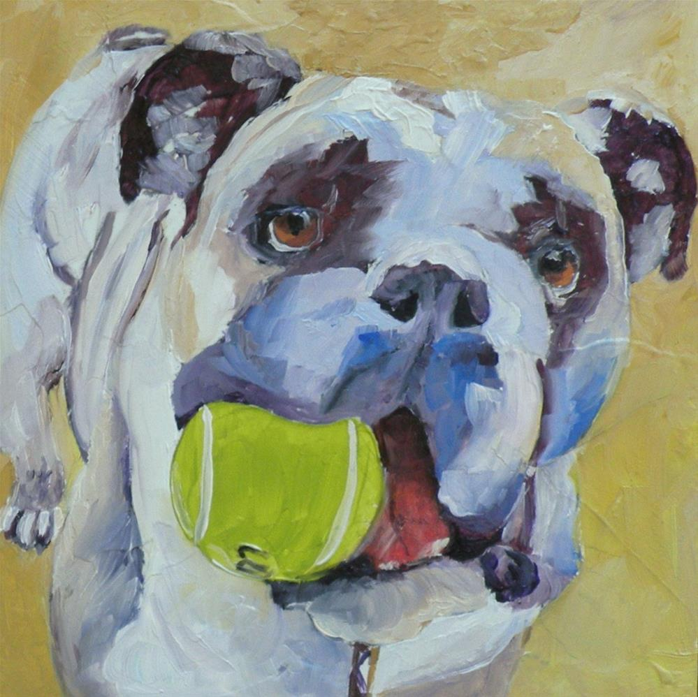 """WANNA PLAY? ORIGINAL OIL ON PANEL © SAUNDRA LANE GALLOWAY"" original fine art by Saundra Lane Galloway"