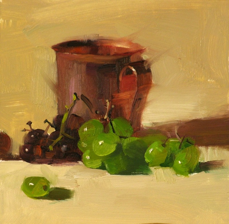 """""Green Grapes"" original fine art by Qiang Huang"