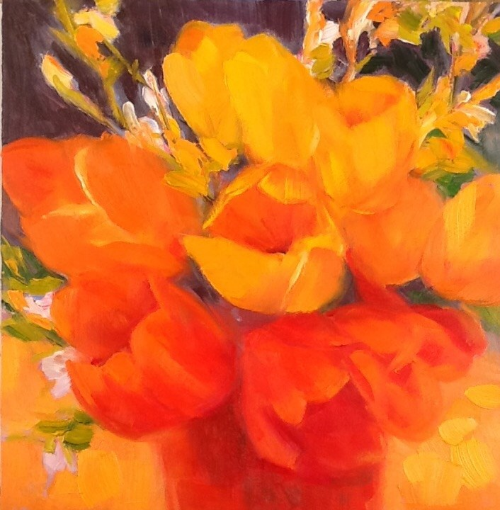 """Yellow and Orange Tulips"" original fine art by Jean Fitzgerald"