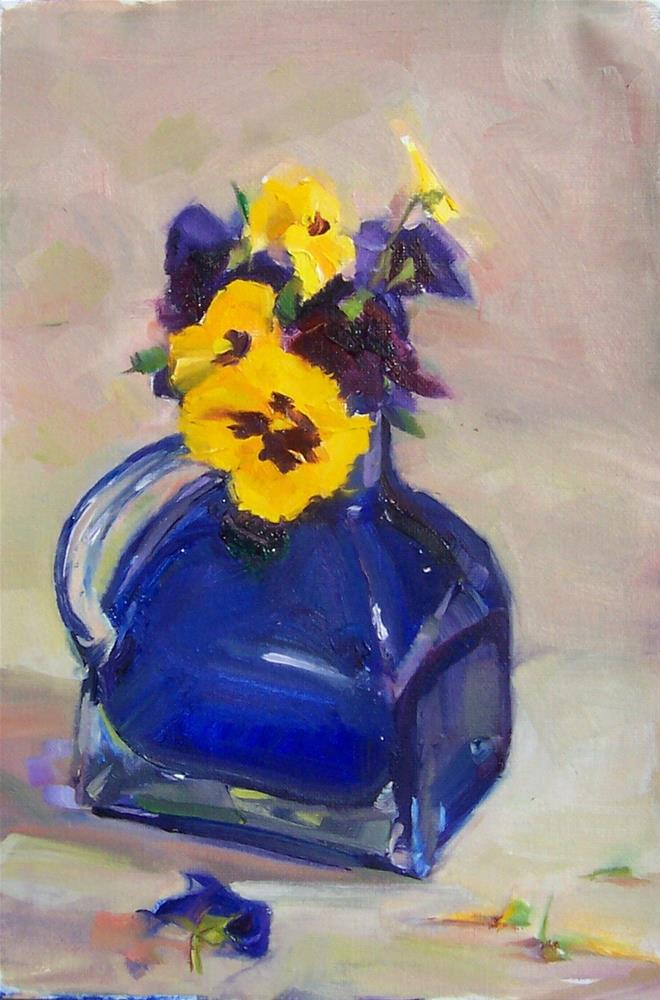 """Pansies in Cobalt,still life,oil on canvas,12x8,price$150"" original fine art by Joy Olney"
