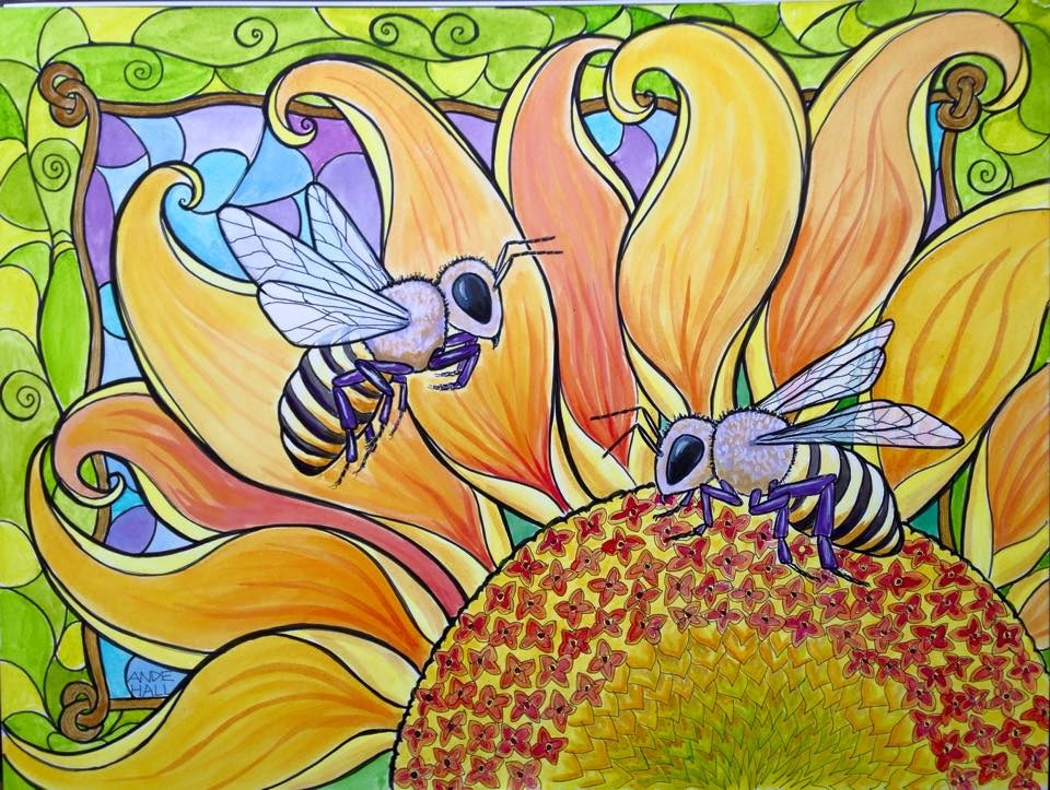 """Bees and Sunflower"" original fine art by Ande Hall"