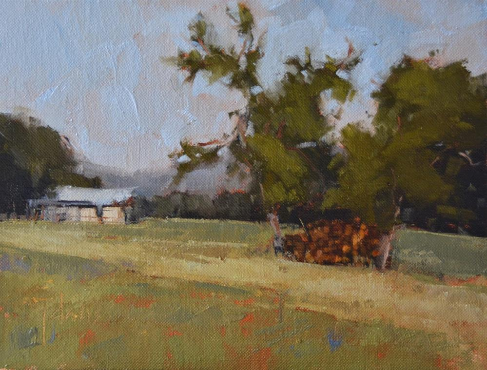 """Woodpile"" original fine art by Julie Davis"