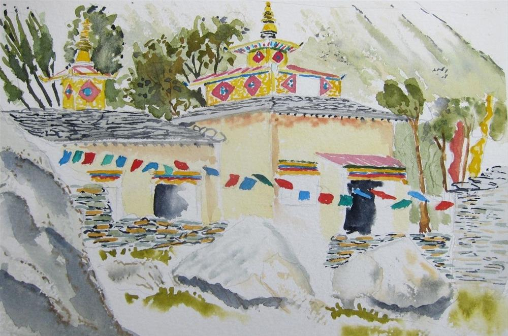 """Tibetan Gompa, Manaslu Trek, Nepal"" original fine art by Tim Barraud"