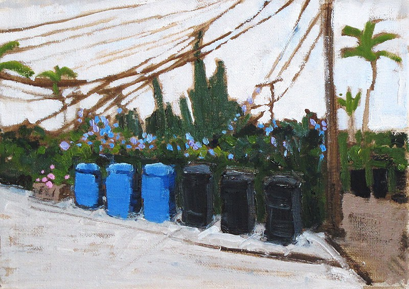 """Cloudy Alley with Recycling Bins"" original fine art by Kevin Inman"