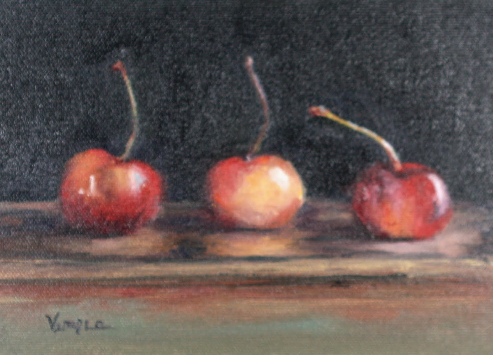 Oil Painting Still Life with Three Cherries original fine art by Carrie Venezia