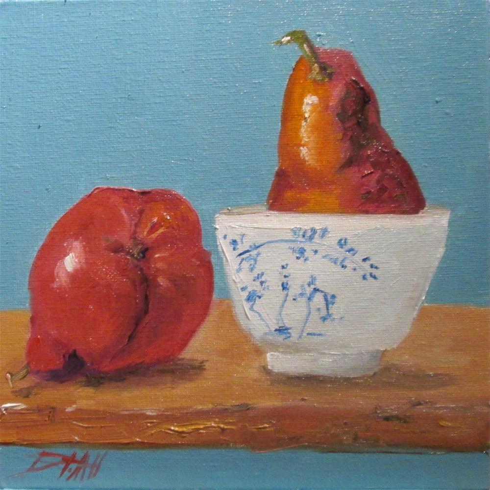 """Red Pear Still Life"" original fine art by Delilah Smith"