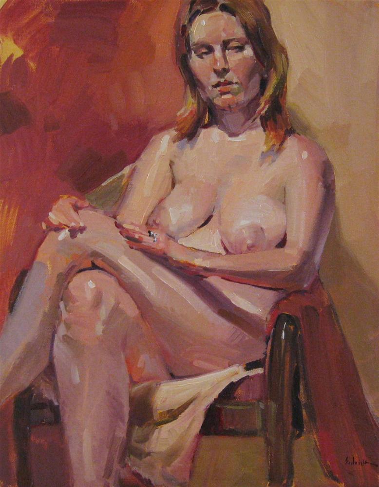 """Long Legs female figure painting portrait nude oil on canvas"" original fine art by Sarah Sedwick"